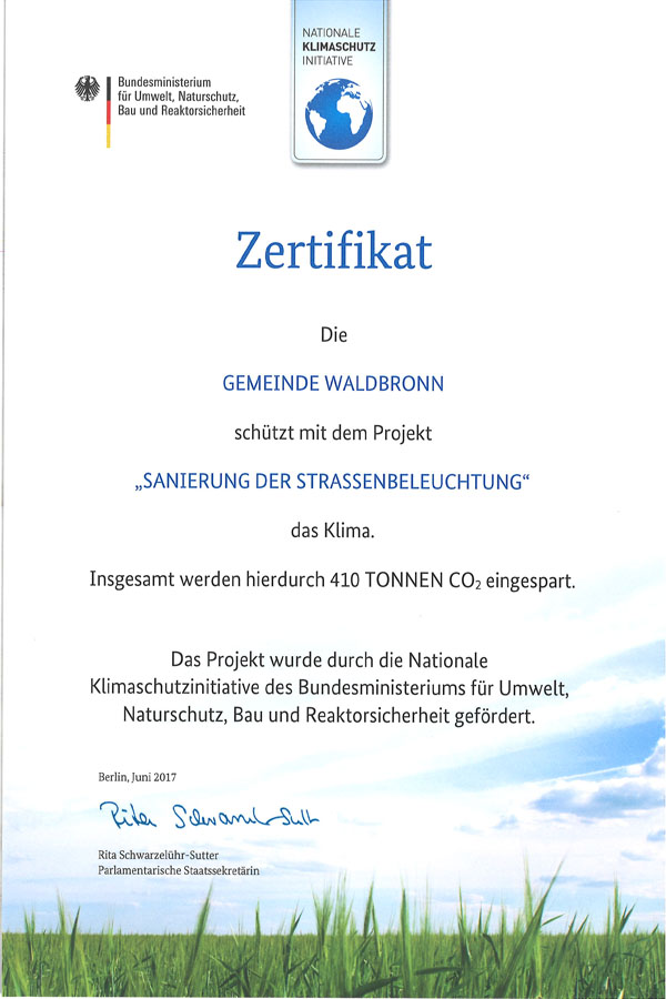 Zertifikat Klimaschutz