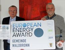 Bürgermeister Franz Masino und sein Stellvertreter Joachim Lauterbach freuen sich über die Zertifizierung European Energy Award.