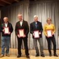 Geehrt wurden 31 Jubilare für langjährige Mitgliedschaft im Schwarzwaldverein Waldbronn, im Bild die Anwesenden für 25 Jahre Friedrich und Heike Heuer und August Schwab sowie für 40 Jahre Georg Fendt und Horst Weber zusammen mit 1. und 2. Vorsitzenden Fra