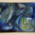 """Auch das Bild """"Nebelsturm"""" von Laura Viviana Teichmann ist in Blautönen gehalten."""