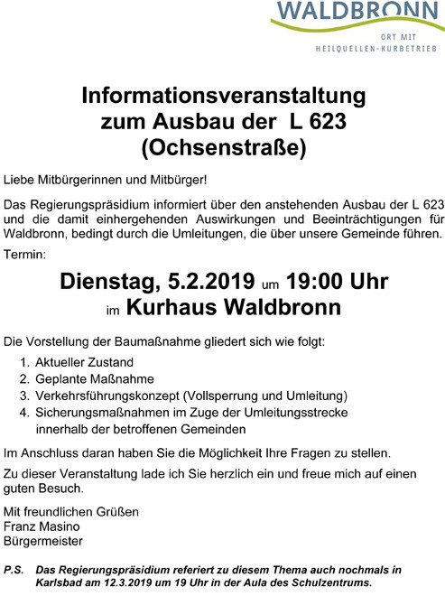 Infoveranstaltung Ausbau Ochstenstraße am 05.02.2019