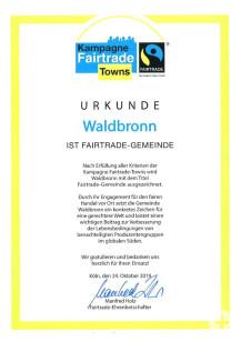 Urkunde Waldbronn Fairtrade